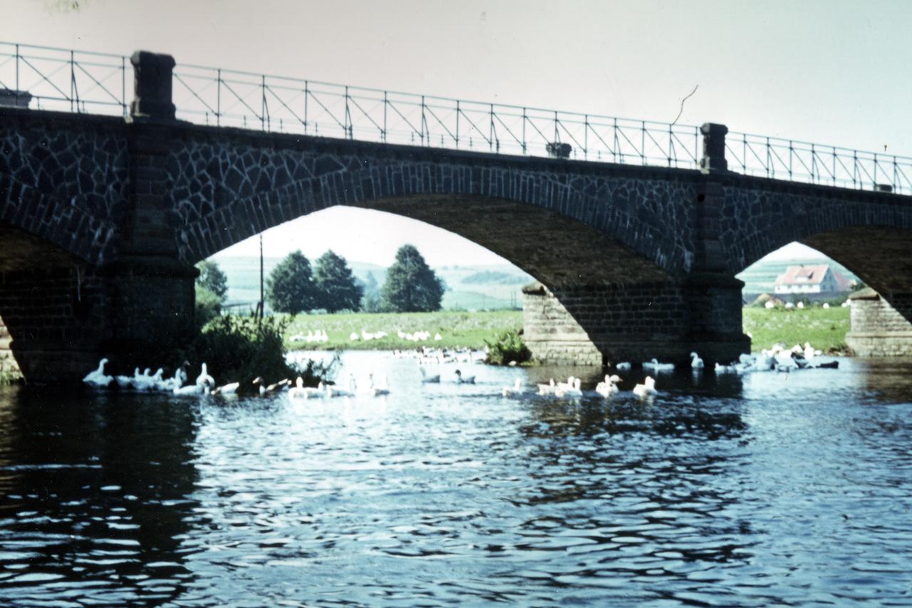 Ederbrücke mit Gänsen, Brücke noch ohne Umbau, Aufnahme von 1954. (© Karl-Hermann Völker)