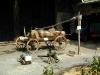 Küthen (Manuels) Hof von links: Elektrische Jauchepumpe, daneben Membranpumpe, daneben eine Kolbenpumpe, im Hintergrund ein Holz-Jauchefaß. (© Detlef Battefeld)