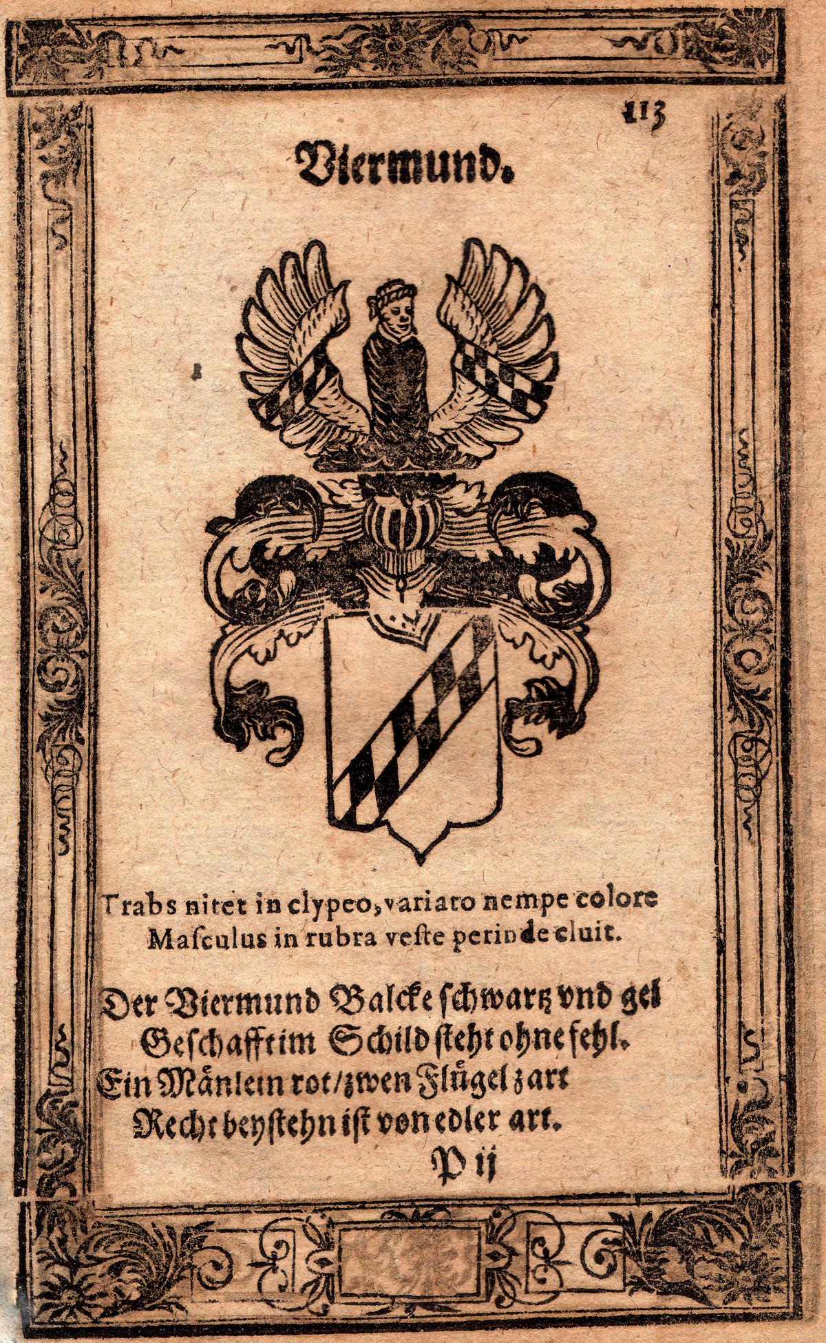 HERALDIK - Viermund Kupferstich aus Hessisches Wappenbuch, ca. 1625