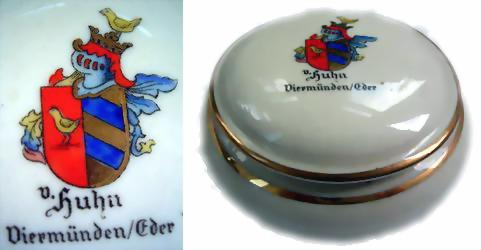 Deckeldose der Bavaria mit Wappen v. Huhn.
