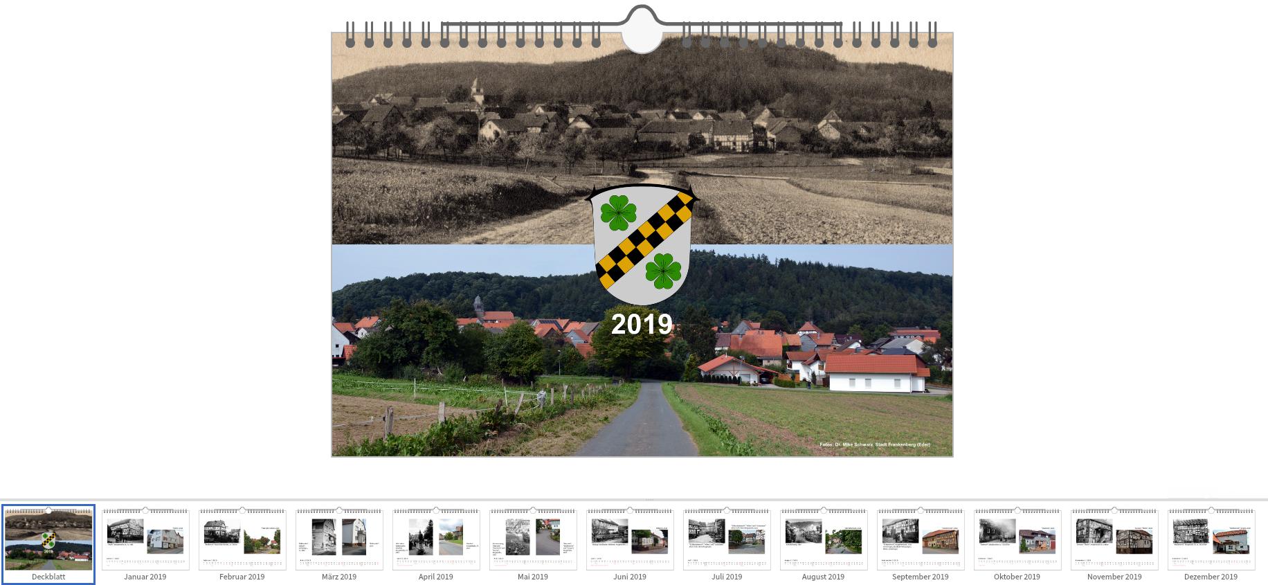 Kalender 2019 mit historischen und aktuellen Aufnahmen von Viermünden