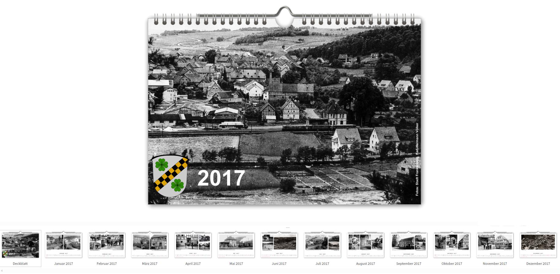 Kalender 2017 mit historischen Aufnahmen von Viermünden