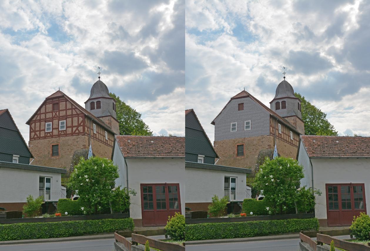 Die Zukunft der Petri Kirche - Vermsche; wollt Ihr das wirklich? Links die Petri Kirche heute, rechts nach der geplanten Vollverschieferung des Ostgiebel (Photomanipulation)