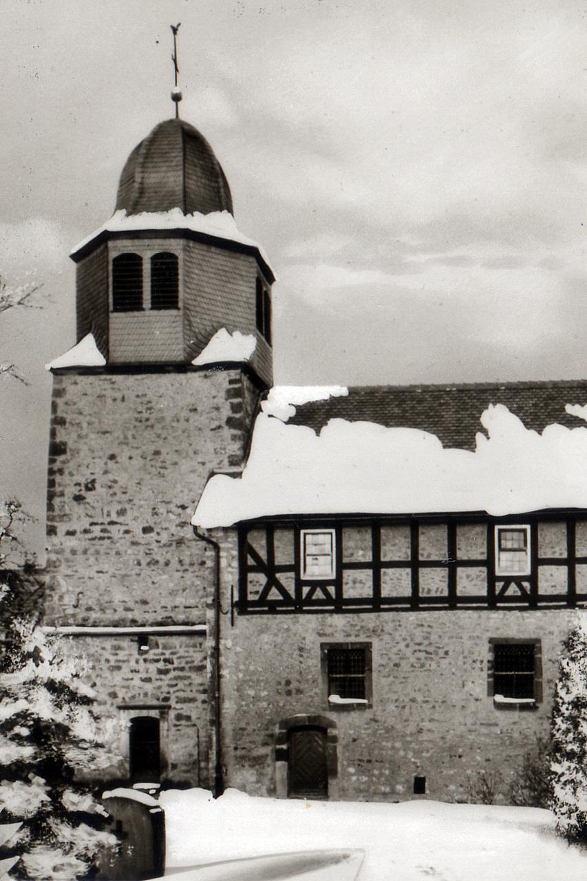 Winterlicher Blick auf die Petri Kirche in Richtung Nord um 1960. (© Ansichtskarte Dortmund: Cramers Kunstanstalt)